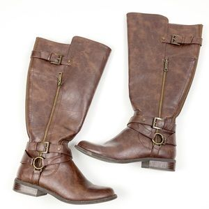 Guess Brown Leather Tall Riding Heeled Boots H